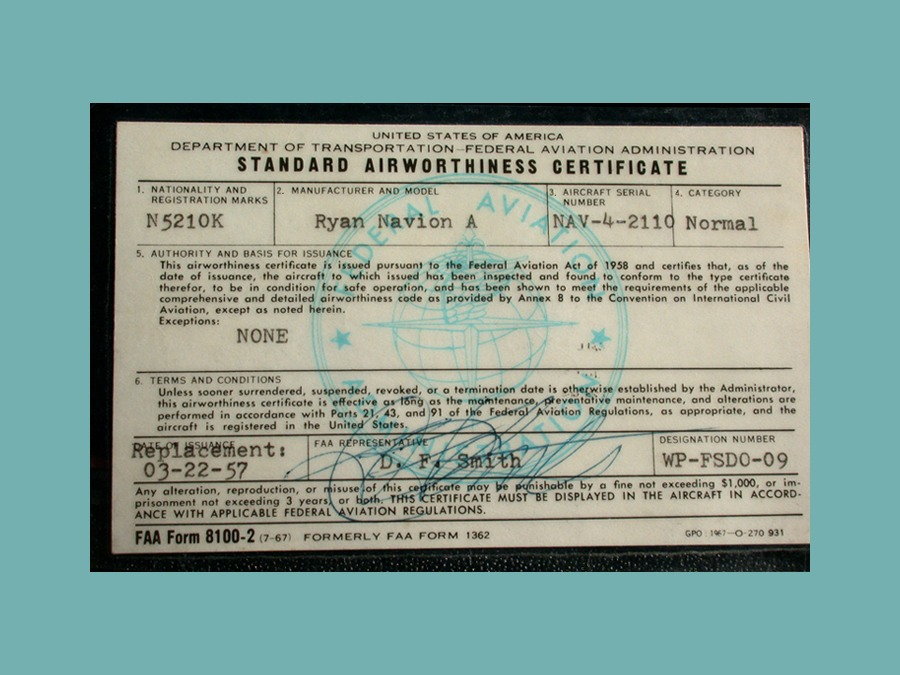 Airworthiness certificate-FLAT